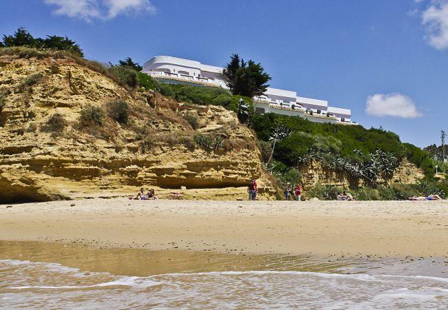 Fachada exterior de Villas Flamenco Beach desde la playa Fuente del Gallo